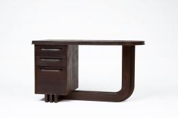 Francisque Chaleyssin's wooden desk diagonal view