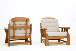 Maison Regain's pair of armchairs, back diagonal view and front diagonal view