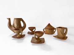 Tea set from Vallauris, full view of all cups and coasters