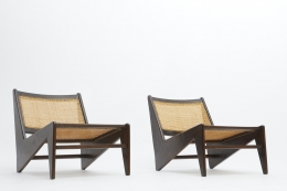 Pierre Jeanneret's pair of kangourou chairs diagonal front view