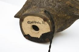 Vallauris' ceramic table lamp, detailed view of signature underneath