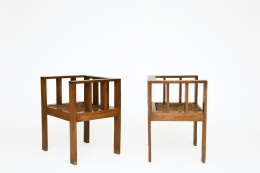 Attributed to Francis Jourdain's pair of chairs, diagonal and side view