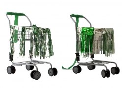Holly Harrell  Nooks and Crannies, 2020  Small Shopping cart, fringe skirt, deflated balloon, crepe paper streamer