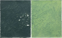 Joe Goode  Gunshot Series, No. 6, 1981  Lithograph with gunshot impression by artist (diptych)