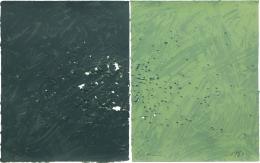 Joe Goode  Gunshot Series, No. 6, 1981  Lithograph with gunshot impression by artist (diptych)