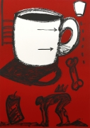 """Gronk Invasion of Dixie Cup: Scarlet & Cup 1990 Lithograph Edition of 50 54"""" x 38"""" 456c-G90 NFS"""