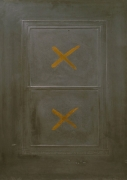 Eric Orr Lead Window Gold X, 1979 Embossed lead relief on wood backing, ed. 25