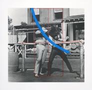 John Baldessari  Blue Masterstroke Over Red Diagram and Two Cowboys, 1989 Lithograph, silkscreen
