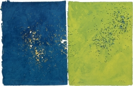 Joe Goode  Untitled, 1981-82  Lithograph with gunshot impression by artist (diptych)