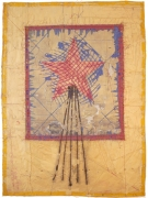 Charles Christopher Hill  Rebecca, 1997  Stitched newspaper  24 1/2 x 18 1/2 in.   304-97-CH  $4500