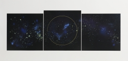 Lita Albuquerqu, Island Universes I, State II,, 2002-2020, Lithograph with gold enamel appliqué