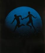 Eve Sonneman Runners Pass Baton, 1988 Polaroid Sonnegram, ed.  3