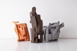 "Karen Bennicke,(Danish, b.1943). Sculptures from Spatial Collage series, 2020.24.5"" H x 11"" W.Terracotta. Photo Joe Kramm"