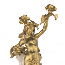 Art Nouveau Marble & Bronze Sculpture