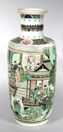 Superb Chinese Famille Verte Porcelain Rouleau Vase