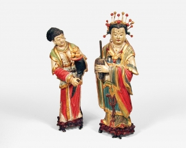 Set of Two Chinese Painted and Gilded Stucco Figures of a Deva and Attendant