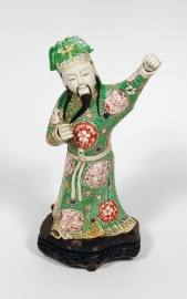 Fine and Very Rare Chinese Famille Verte Porcelain Figure of an Archer Immortal