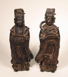 Fine Pair of Chinese Bronze Figures of Daoist Immortals
