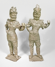 Fine Pair of Chinese Straw Glazed Pottery Figures of Guardians