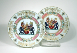 Pair of Chinese Armorial Porcelain Plates