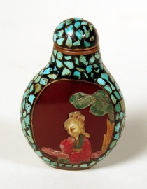 Chinese Metal and Turquoise Inlay Snuff Bottle