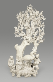 Very Rare and Fine Blanc de Chine Porcelain Tree with Figures