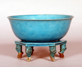Chinese Turquoise Glazed Bowl and Stand
