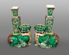 Rare Pair of Chinese Glazed Biscuit Porcelain Recumbent Fu Lions