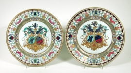 Fine Pair of Chinese Armorial Porcelain Plates