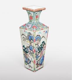 Rare Chinese Famille Rose Quadrangular Vase