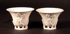 Pair of Chinese Blanc de Chine Porcelain Cups