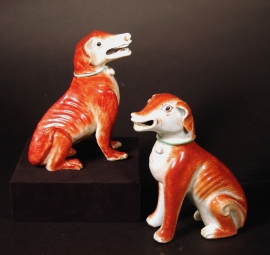 Pair of Two Chinese Export Rouge de Fer Porcelain Seated Hounds