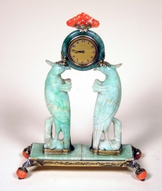 Mounted Jade and Hardstone Desk Clock