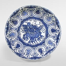 Unusual Chinese Blue and White Kraak Porcelain Plate