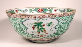 Famille Verte Glazed Moulded Porcelain Bowl