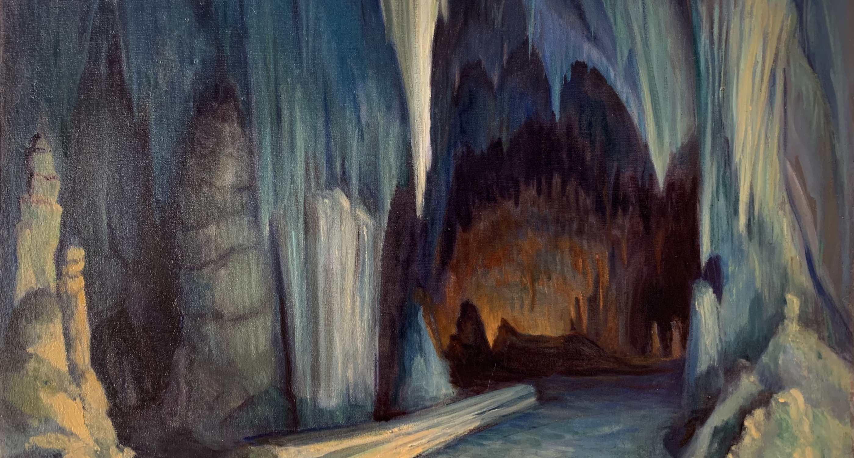 """3. Will Shuster (1893–1969) """"Carlsbad #1, The Queen's Chamber,"""" d.1924, oil on canvas, 30 1⁄4 x 40 1/8 inches"""