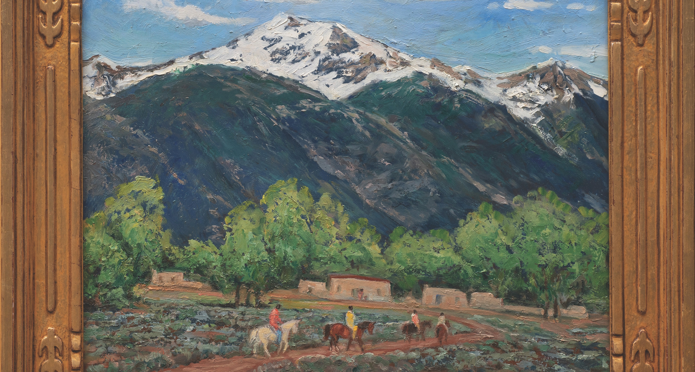 "17. Ila McAfee (1897–1995) ""Taos Valley in Early Spring,"" d.1930, oil on masonite, 15 7/8 x 19 7/8 inches"