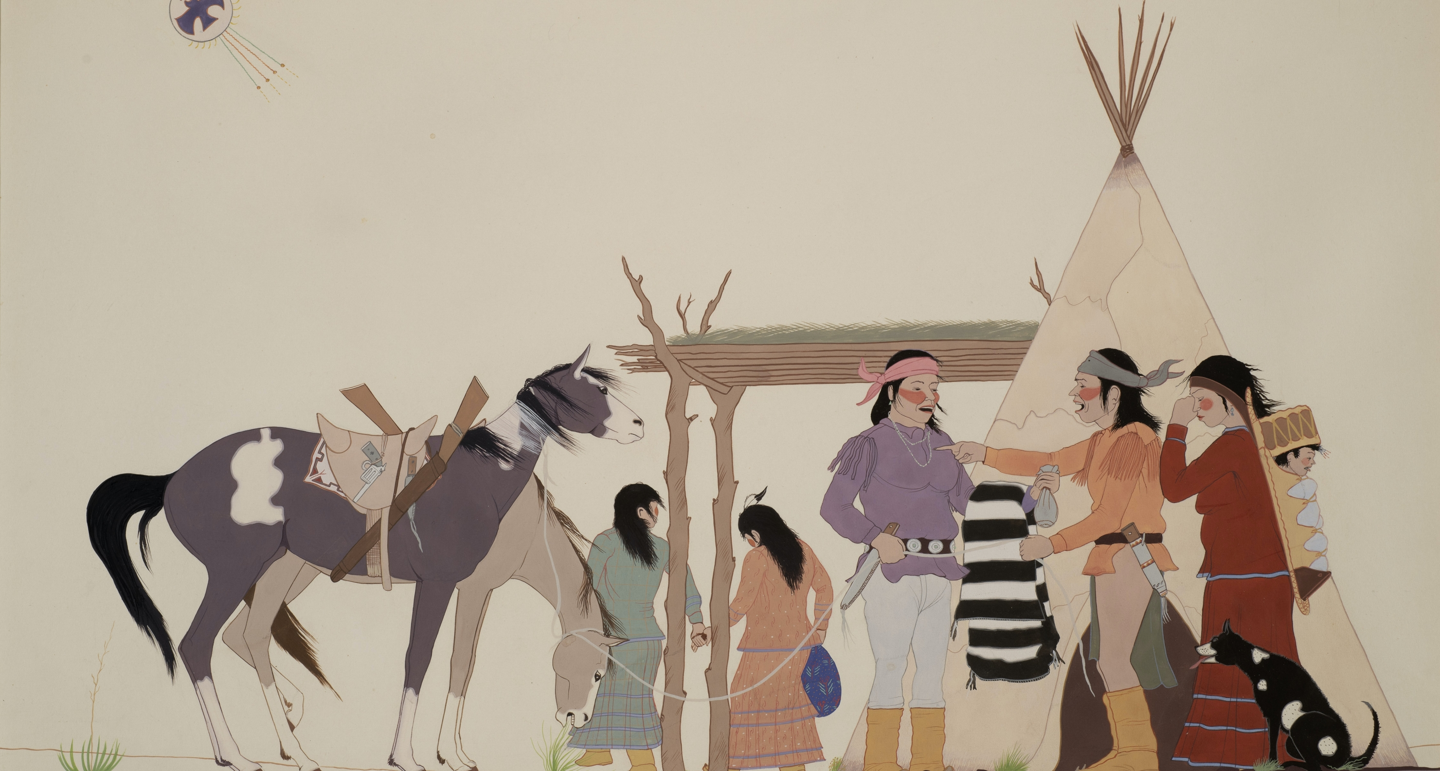 "16. Allan Houser (1914–94) ""The Wedding,"" d.1938, gouache on paper, 12 3⁄4 x 21 1⁄4 inches"