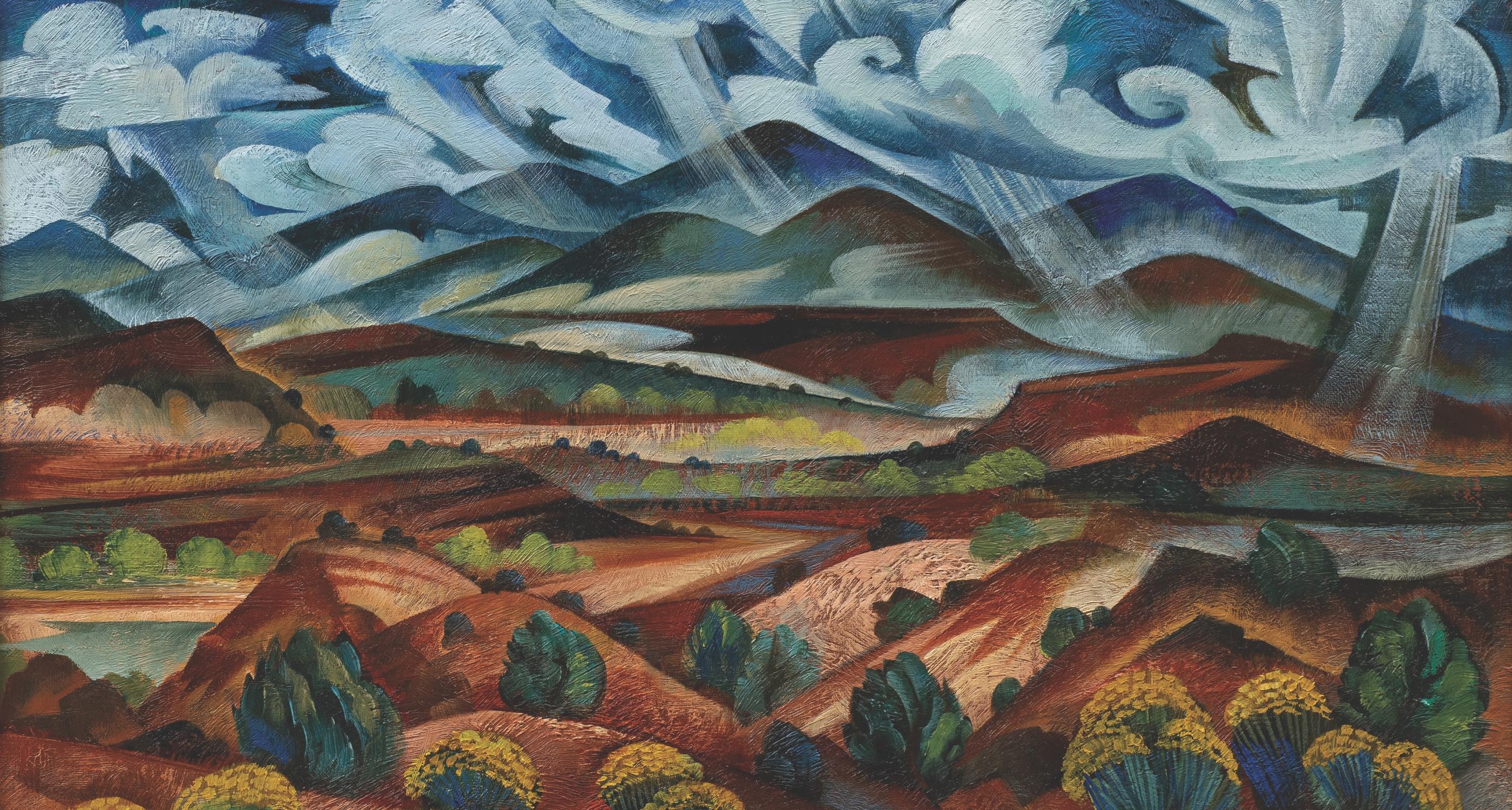 "22. Tony Abeyta (b.1965) ""Autumnal Landscape,"" d.2020, oil on canvas, 22 x 29 inches"