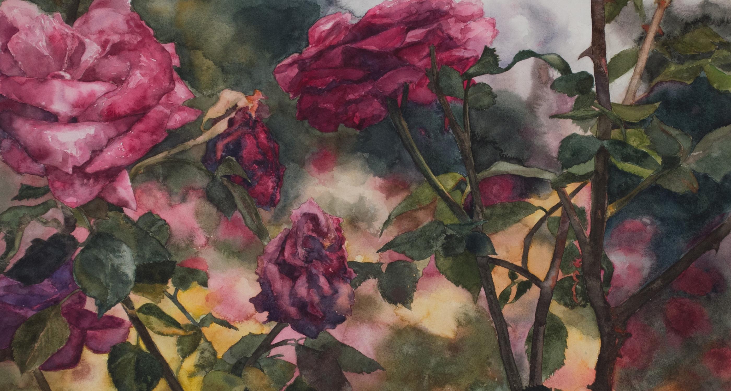"Eileen Goodman, Roses In Front, 20.75"" x 29"", Watercolor"