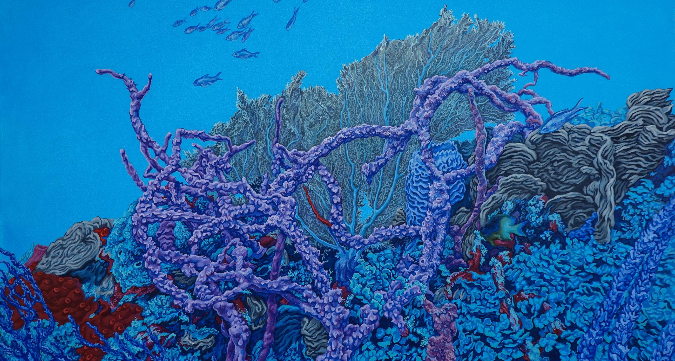 Hide and Seek oil painting by Nikolina Kovalenko depicting abundant underwater coral reefs.