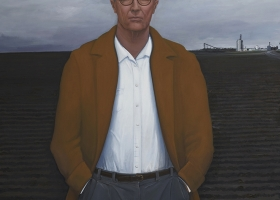 William Beckman Overcoat with Plowed Field, 2018-19 oil on canvas 100 x 73 inches