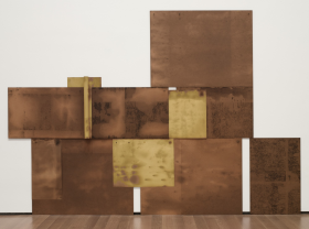 Scalar, 1971 chipboard, crude oil, paper and nails