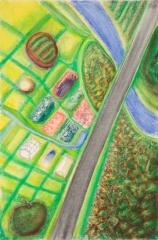 Richard Artschwager Aerial Pastel Landscape