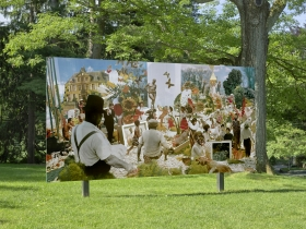 """PLATFORM 24: Wardell Milan, """"Sunday, Sitting on the Bank of Butterfly Meadow"""", deCordova Sculpture Park and Museum, Lincoln, MA, 2019, installation view"""