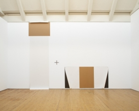 Set, 1970 paper, chipboard, graphite, and nails on wall