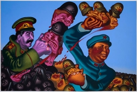Peter Saul Stalin + Mao