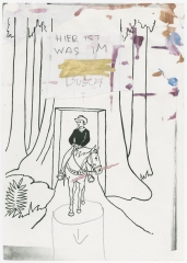Jonathan Meese, Untitled (HIER IST WAS IM BUSCH)