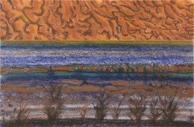 Richard Artschwager Horizon with Orange Sky