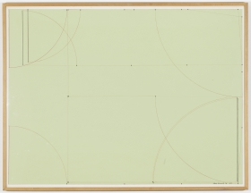 Study, 1973 graphite and ink on green paper